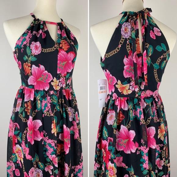 NWT Nicole Miller Black Pink Floral Dress